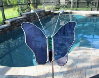 """Stained Glass Purple and White Butterfly Garden/Memorial Plant Stake - 4.5"""" x 4.5""""  - Authentic Stained Glass, Original Design"""