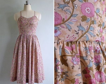 20% CNY SALE - Vintage 80's Ralph Lauren Dusky Pink Floral Sun Dress XS or S