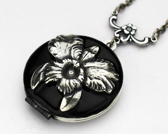 Orchid Necklace, Orchid Jewelry, Black Orchid Jewelry, Silver Locket Necklace, Birthday Gift, Bridesmaid Gift