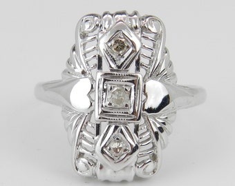 Vintage Diamond Ring Antique Ring 14K White Gold Circa 1920's Heart Detail Size 5.5