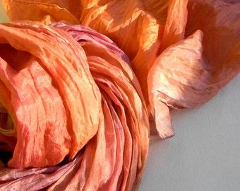 Blood Orange Silk Scarf.Orange and Red Silk Scarf.Orange Ruffled Scarf.Handmade Silk Scarf.Red and Orange.Blood Orange Scarf.Christmas Scarf
