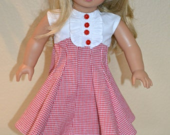 1950s inspired red checkered dress for your 18 inch doll