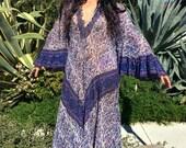 Vintage Gauze Dress//Oh Calcutta Dress// Indian Gauzy Boho Dress//  1970s Indian Dress// ethnic hippie festival