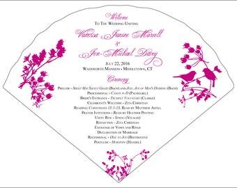 Set of 25+ Birds and Wildflowers Design Wedding Program Fans
