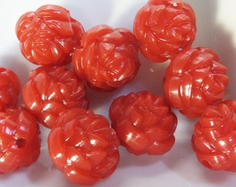 18mm, 10CT, Red Rose Flower Chunky Beads, F41