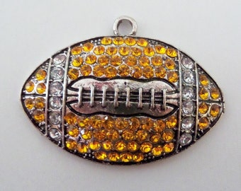 50*35mm Yellow Football Rhinestone Pendant for Chunky Necklace, P45