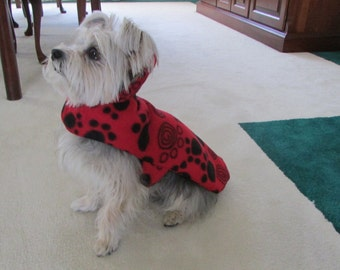 Small Red Print Double Fleece Dog Coat