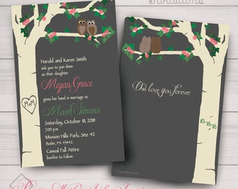 Love's a Hoot! Wedding/Shower Invitations w/Owls and a Springy Flowered Carved Tree. Color, Font & Text Changes Free! Digital or Printed.