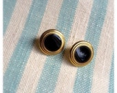 Handmade Vintage Button Earrings. Black & Gold Plated. 10mm Diameter.