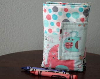 Kids Crayon Wallet - Pink Elephants - Blue - Gift Under 20 - With Crayons and Paper - Back to School - Travel Gift