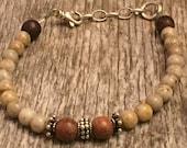 Rose Wood - Feldspar Gemstones - Bali Beads- Oxidized Sterling Silver - Rustic Boho Bracelet - Sundance Style