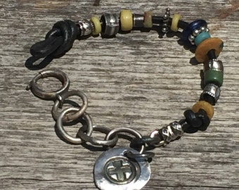 Bracelet - African Trade Bead - Oxidized - Silver Charm - Boho Accent beads -  Heavy Chain Link - Artisan Jewelry Sundance Style