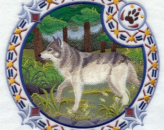 Gray Wolf Shield (Native American) Embroidered on Kona Cotton Quilt Block // Plain Weave Cotton Dish Towel // Also Available on Other Items