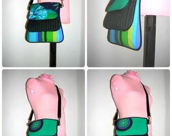 Many More Versatility Medium Bag three pocket Utility Crossbody Purse variable Haversack Shoulder Sling Tote mixed fabrics Black Blue Green
