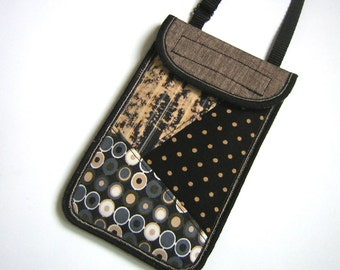 Cellphone Case fit iPhone6 Mobile Cover smartphone neck pouch Crossbody Mini Purse cell Phone bag iPod wallet mixed fabric black gray hazel