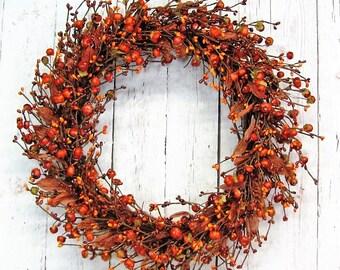Fall Wreath - Rustic Wreaths - Pumpkin Berry Wreath - Pip Berry Wreath - Primitive Wreath - Country Wreath - Thanksgiving Front Door