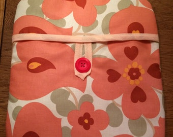 Cotton Fabric Padded Hot Water Bottle Cover Cozy in Pink Flowers