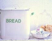Vintage Enamel Bread Box - Cream and Green Bread Box - English Shabby Bread Box