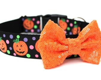 Dog Collar Bow Add-On Orange Sparkle Bow for Dogs