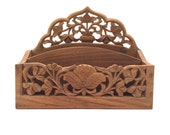Mail Organizer, Hand Carved Wood from India, Asian / Bohemian Decor