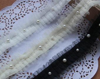"10 yard 4cm 1.57"" wide black/white/apricot beads ruffled mesh lace trim ribbon tapes ihine free ship"