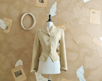 Vintage 1940s Cream Wool Tailored Suit Jacket -Busy Little Bee-