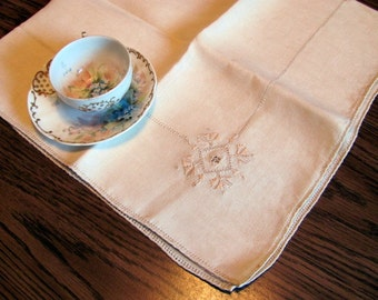 Linen Embroidered Tablecloth Ecru / Ecru Linen Luncheon Tablecloth or Table Topper