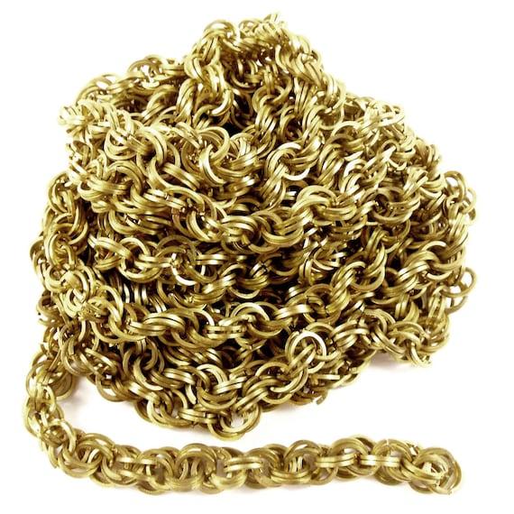 Vintage Wire Chain Jewelry Making Brass Chain Custom: Vintage Handmade Brass Chain Jewelry Making Antique Brass