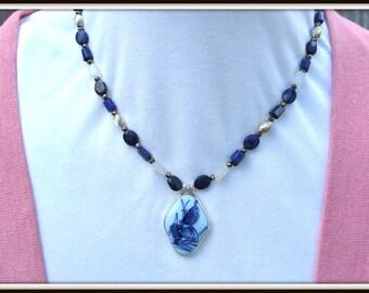 Lapis Necklace, Moonstone Necklace, Porcelain Butterfly Necklace, Butter Pendant Necklace, Pottery Shard Necklace, Blue Lapis Necklace