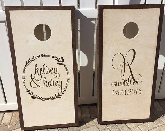 Corn Hole Board Decals | Wedding Decor Rustic | Personalized Wedding | Cornhole Decal