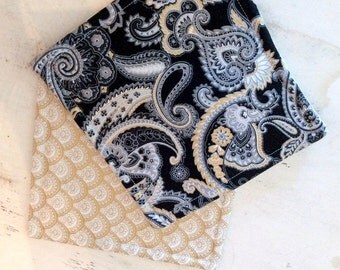 Coasters Set of 4 Reversible Black Gold White Grey Paisley Design Coordinating Gold Flowered Fabric Sophisticated Elegant Home Decor 1930's
