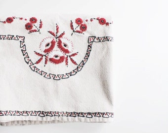 Vintage Embroidered Table Cloth, Square- Free Shipping