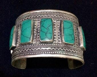 Vintage Afghani Cuff Bracelet Green MG2 Boho Gypsy Tribal Belly Dance Uber Kuchi®