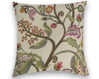 Orange Floral Pillow Cover-- 18x18 or 20x20 or 22x22--Decorative Accent Pillow--Green, Brown, Purple Cream