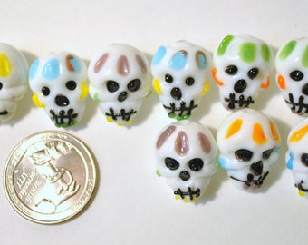 Glass Lampwork Beads- 10 Piece Day of the Dead Skulls