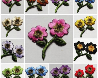 2 x 2 1/2 inch flower iron on applique each color available 1 applique/select color