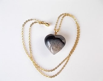 Black Agate Heart Necklace, Mineral Jewelry, Quartz Pendant, Natural Stone Necklace, Gift for Her