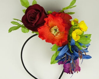 Rainbow Wildflower Fascinator Headband