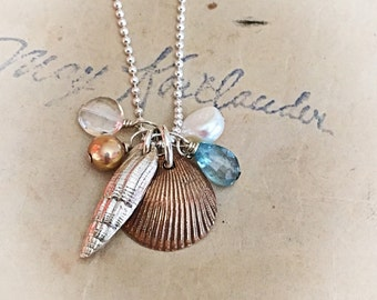 Shell and gemstone cluster necklace