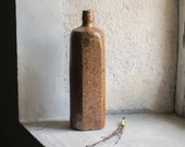 French Stoneware Bottle // Rustic Brown Country Decor
