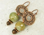 Copper Earrings - Green Bead Textured Metal Brown Wood Dangle Jewelry