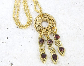 Tribal Antique Gold Charm Necklace with Garnet Rhinestone Dangle Necklace
