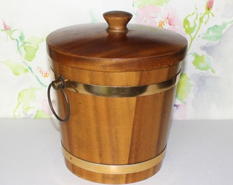 Vintage KMC, Wooden Ice Bucket, Champagne Bucket with Lid