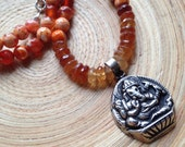 Ganesh necklace with fire agate and hessonite garnet fall colors yoga necklace
