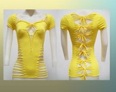 SALE!!! MEDIUM - Womens / Juniors Blank Bright Yellow Top Cut Shirt Size Small Shredded T