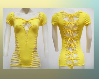 ON SALE!!! Medium - Womens / Juniors Blank Bright Yellow Top Cut Shirt Size Small Shredded T - TS-8012