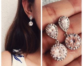 Rhinestone Earring, Cubic Zirconia Earrings, Crystal Earrings, Silver Wedding Bridal Earrings, Bridesmaid Earrings, Bridesmaids Gift Set JW
