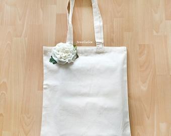 White Tote Bag with Rosette, Cotton Book Bag, Teacher Tote Bag, School Bag, Gift Tote Bag, Eco Market Bag, Shabby Chic Shopping Bag
