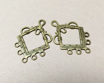 Antique Brass Chandelier Drop. Earring Findings. Diamond Shaped Hoops. 25mm. Two (One Pair).
