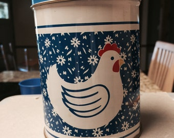 Blue tin canister